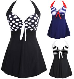 Wholesale New Sexy Stripe Padded Halter Skirt Swimwear Women One Piece Swimsuit Beachwear Swim dress Plus size M XL