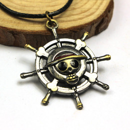Wholesale Monkey D Luffy Cosplay - Wholesale-2016 Vintage Anime ONE PIECE MONKEY D LUFFY Skull Pendant Necklace Pirate Flag Metal Necklace cosplay Anime Gift