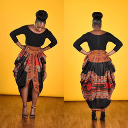 Wholesale Casual Skirt Designs For Women - 2017 spring African Dress for women Traditional african clothing African National Printed Big Swing Skirts Ankle-length Popular Design Bazin