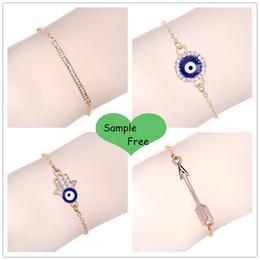 Wholesale Crystal Evil Eye Bracelets - Wholesale New Evil Eyes bracelet jewelry bracelet gold pulsera hombre Rhinestone Arrow bracelets for women chain bangles berloque