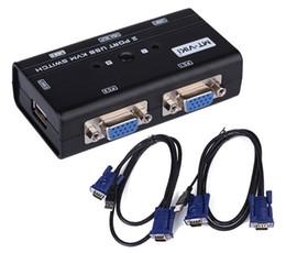 Wholesale Kvm Box Usb - MT-260KL 2 Port USB 2.0 KVM VGA Switch Box Keyboard Mouse Monitor kvm switch with 2 Sets VGA cables
