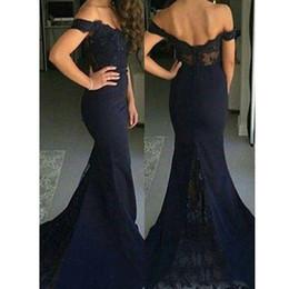 Wholesale Vestidos Prom Cortos - Vestidos Cortos de Gala Modest Long Lace Prom Dresses 2017 Off Shoulder Bridesmaid Dresses Mermaid Ombre Women Party Gowns