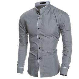 Wholesale Mens Mandarin Shirts - Wholesale- Men Shirt Luxury Brand 2016 Male Long Sleeve Shirts Casual Mens Edge Collar Slim Fit Dress Shirts Mens Hawaiian 2XL TNUU