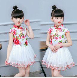 Wholesale Elegant Qipao - Chinese Style Elegant Baby Girl Dress Net Yarn Rose Flower Print Children Qipao Dress for girl birthday Gift