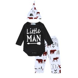 Wholesale Infant Girls Hats - Toddler Baby Girls Autumn Sets Long Sleeve Letter Allow Little Man Romper+ Pant+Hat Infant Reindeer Printed Outfits