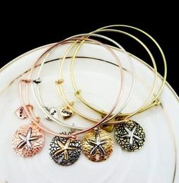fil de mer Promotion Starfish Pendentifs Bracelet Réglable Extensible Fil Or Argent Rose Or / Vintage Cuivre Mer Amour Amour Bracelets Charme Bijoux Pour Cadeau