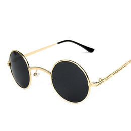 Wholesale Smallest Round Men Sunglasses - Wholesale-New Steampunk Sunglasses Men Women Vintage Round Metal Sunglasses Unisex Designer Retro Small Sun Glasses oculos de sol