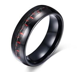 Menos quantidade acceptabel grosso preto e vermelho de fibra de carbono embutida cúpula anel de tungstênio preto 8mm de