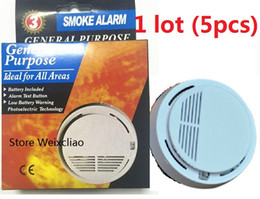 Wholesale Battery Monitor Alarm - 5pcs 1 lot With 9V Battery Option General Purpose Smoke Alarm Wireless Detector Fire Sensor Monitor Cordless for All Areas Free Shipping