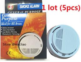 Alarme do monitor da bateria on-line-5 pcs 1 lote Com Opção de Bateria de 9 V de Fumo de Uso Geral Alarme Sem Fio Detector Sensor de Incêndio Monitor Sem Fio para Todas As Áreas Frete Grátis