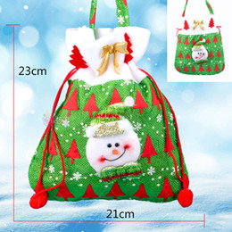 Wholesale Candy Colored - Canvas Christmas Gift Candy Bags Christmas Bags Drawstring Favor Gift Package Bulk Set Of Multi-Style Neon Colored Goodie Bags Sacks