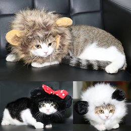 Wholesale Hair Dressing Heads - 26-30Cm Forest King Dogs Cats Costumes Wig Dressed Up Funny Lion Head Cover Decoration Animals Wig Accessories Pet Supplies