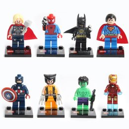 Wholesale Free Construction - Custom League of Legends Super Heroes Avengers DIY Construction Spiderman Toys 8pcs   sets Building Blocks Gifts for Kids Free Shipping