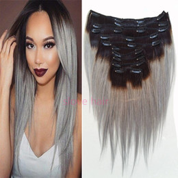 Wholesale Silver Clip Hair Extensions - Ombre Silver Gray Clip in Human Hair Extension Sexy Hot Brazilian Hair Clip in Extension Full Head Dark Root