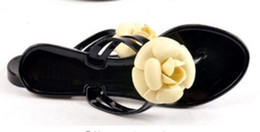 Wholesale Camellia Boots - 2017 summer flats sandals camellia crystal flower jelly shoes rain boots flat sandals Free shipping