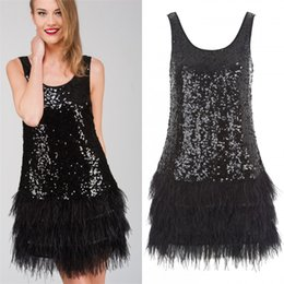 Wholesale Sequin Feather Cocktail Dresses - 2018 Fashion Little Black Feather Sequined Bodycon Dress Short Cocktail Party Dresses Scoop Neck Mini Formal Prom Gowns Real Photo