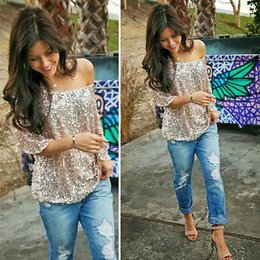 Wholesale Womens Bling - Wholesale- Womens Sequined Bling Shiny Casual Loose Shirt Off The Shoulder
