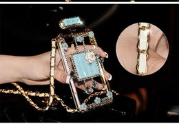 Wholesale Apple 3d Bling Handmade - 084 Handmade Bling Rhinestone 3D Long Chain Perfume Bottle Blue Phone Protect Back Cover Cellphone Case For iPhone 5 5s 6 6 Plus 7 7 Plus