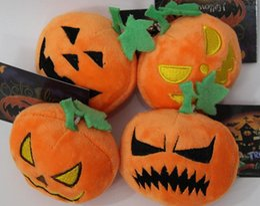 Wholesale Dolls For Halloween - Halloween Pumpkin Pendants Keychain EMS 6.5cm Halloween Pumpkin Keychain Pendants Plush Soft Stuffed Doll Toy with Sucker for kids 6.5cmfree
