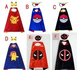 Wholesale Pokemon Costumes Kids - Poke go double layer cape children Cosplay capes Halloween Party Costumes for Kids clothes 1pcs mask+1pcs cape A080
