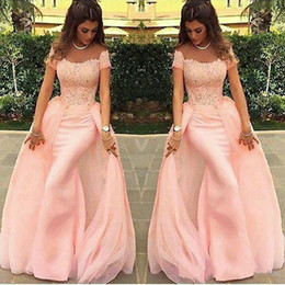 Wholesale Evening Long Slim Skirt - Charming Mermaid Slim Evening Dresses Detachable Skirt Middle East Capped 2017 Pink Applique Long Party Prom Gowns Dress Formal
