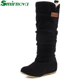 Wholesale Winter Woolen Shoes - Wholesale-2016 Newest Winter Woolen Lady Snow Boots,sexy Black Orange Brown Women Boots flats mid calf shoes woman
