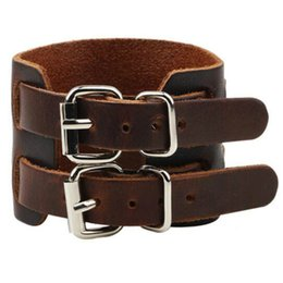 Wholesale Brown Leather Wristband Buckle - Wholesale- Black brown Strap Double Belt Wide Leather Adjustable Buckle Wristband Cuff Bracelet Casual Jewelry For Men bijoux Pulseras