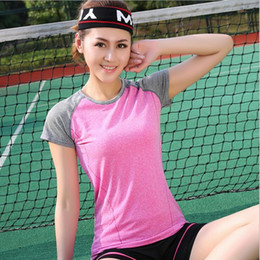 Wholesale Sport Tennis Clothe - Comfortable Women's Short-sleeve Summer Sport Fitness Yoga Gym Quick-drying T-shirt Clothes Sports Tennis Lady Girl Shirt Clothes