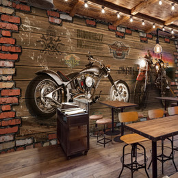 Wholesale Brick Wallpaper 3d - Wholesale- Free Shipping Internet cafes 3D Vintage Motorcycle car wood brick wall European retro Cafe bedroom living room mural wallpaper