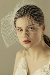 Wholesale Simple Birdcage Veil - IN STOCK Simple Vintage Full Face Bridal Veils Cheap Tulle Veils for Wedding Events Wedding Veils White Bridal Accessories 30*23cm CPA963