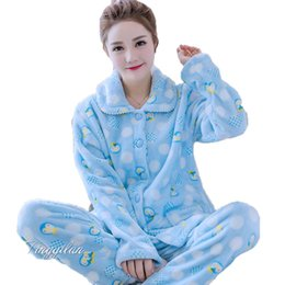 Wholesale Cute Sexy Pajamas For Women - Autumn Winter Women Sleepwear Pyjama Suit Thick Warm Cute Sleeping Clothes Coral Fleece Pajamas For Women Pajama Set Homewear