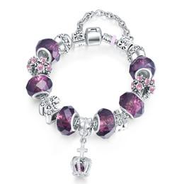 Wholesale Glass Bead Bracelets For Women - Women Charm Bracelet Elegant Silver European Charm Bracelet Purple Murano Glass Beads Bracelets for Girls Excellent quality
