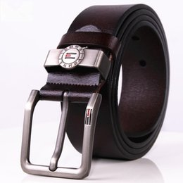 Wholesale 38 Pin - 2017 Direct Selling New Men's Luxury Pin Buckle Belts Genuine Leather Designer Cowhide Strap Waistband Brown High Quality Fringe Belt