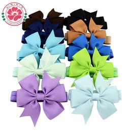Wholesale Toddler Hair Ties - Wholesale- 40pcs lot DIY Grosgrain Ribbon Baby Bow Headband Bowknot Headbands Toddler Hair bands Hair Ties Infant Hair Accessories 567