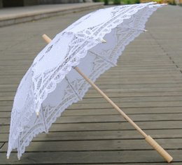 Wholesale Party Lace Parasol Umbrellas - Bridal Accessories Wedding Lace Parasol White Lace Umbrella Victorian Lady Costume Accessory Bridal Party Decoration Photo Props