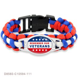 Wholesale Silver Thank Charms - Remember Our Veterans Thank You Veterans Paracord Survival Friendship Men Womens Ladies Bracelets Blue White Cord
