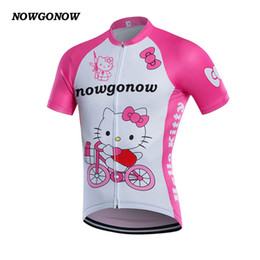 Camiseta de ciclismo rosa equipo femenino online-Mujeres 2017 ciclismo jersey AK ropa desgaste de la bici ser fuerte rosa encantadora bicicleta NOWGONOW MTB road team ride tops camisa divertida maillot ciclismo