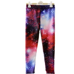 Wholesale Galaxy Trousers - Wholesale- Hot Active LOVE SPARK Galaxy Purple Space Girls Running Pants Elastic Loose Straight Kids Trousers 9 Years Children