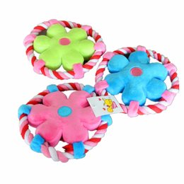 Wholesale Flower Duck - Colorful Flower Flying Disc Puppy Dog Chew Squeaker Pig Duck Frog Squeaky Plush Sound For Dog Sound Toy Teethers Mix Order 20PCS LOT