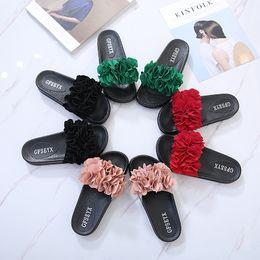 Chanclas de plataforma rosa online-Diseño floral mujer sandalias para mujer zapatillas florales de playa sandalias mujer toboganes plataforma sandalias florales sandalias 35-42