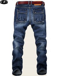 Wholesale Slim Fit Men Cheap - Wholesale-2016 new Large Plus Size 42 44 46 48 Blue Elastic Men Jeans Slim Fit Straight Denim Pants cheap price Men's Jean Skinny Homme