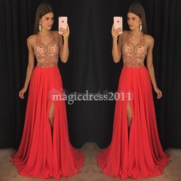 Wholesale Girls Dresses Chiffon Pink Halter - Black Girl 2K17 Prom Evening Dresses 2017 Open Back A-Line Halter Beaded Coral Chiffon Formal Celebrity Dress for Party Gowns