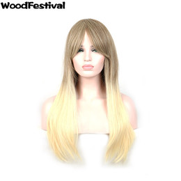 Wholesale Long Cosplay Wig Bangs - WoodFestival long straight flax blonde wig ombre heat resistant fiber wigs with bangs 70cm synthetic hair wigs cosplay