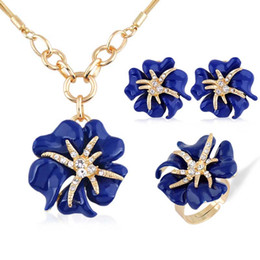 Wholesale European Jewelry Sets - European and American fashion 3p Golden Big Rose Rhinestone Jewelry Sets Enamel Fine jewellery Set for women charm Accessories