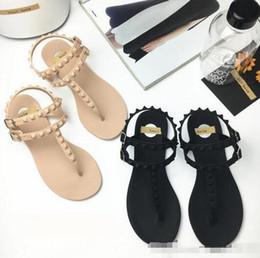 Wholesale Trendy Rubber Sandals - New trendy Woman sandal flat base concise style women's Flip flops sandal rivet Rome Sandal students students fashion T shoes