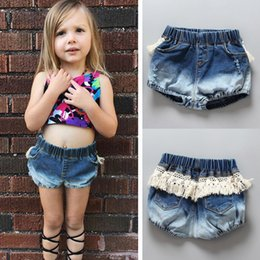 Wholesale Baby Girl Denim Short Pant - 2017 Ins Summer Fashion Baby Girl Denim Jeans Kids Girls Lace Tassel Casual Pants Children Clothes