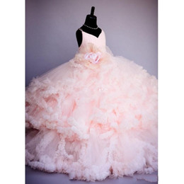Wholesale Cheap Tutu Dresses For Kids - Lovely Vintage Blush Pink Spaghetti Ball Gown Flower Girl Dresses for Wedding Ruffles Tutu Girls Pageant Dresses Kids Party Gowns cheap