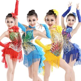 Wholesale Latin Rumba Dresses - Girls Sparkling Latin Rumba Salsa Dresses Sequin Double Tassel Dance costumes