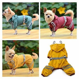 Wholesale Yellow Dog Coat - Dog Raincoat PVC One Layer Rain Jacket Reflective Light Slicker Hoodie Vermillion Yellow Green Colors Safe Easy Be Seen Raincoats YYA337