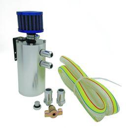 Filtro de respiro de óleo on-line-Novo Reservatório De Alumínio Tanque Azul Breather Filtro Chumbo Motor 250ML retentor de óleo pode com filtro Prata Preto